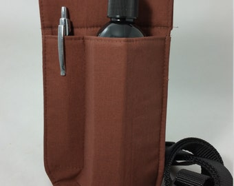 Massage Therapy Single lotion bottle RIGHT hip holster, solid brown, black belt