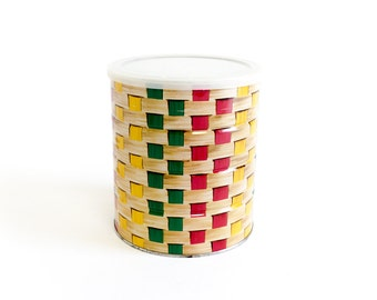 Vintage 1960s Tin Coffee Can with Lid VGC / Primary Colors, Basket Weave Pattern, Retro Kitchen Storage Display