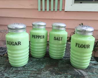 JEANETTE JADITE SHAKERS Beehive Stove Top Shakers Sugar, Flour, Salt and Pepper, Aluminum Lids, Farmhouse Kitchen at A Vintage Revolution