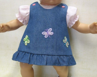 Denim Butterfly Jumper with Pink Blouse for Bitty Baby Doll