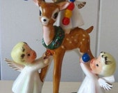 Lefton Christmas Angels Decorating Reindeer