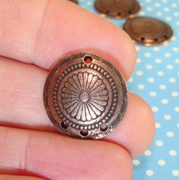 2 Round Concho Earrings Parts Copper Plated Pewter Usa