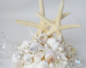 Beach Wedding Cake Topper, Seashell Cake Topper, Starfish Cake Topper, Nautical Cake Topper, Nautical Wedding, Beach Wedding Decor - #CT2SF
