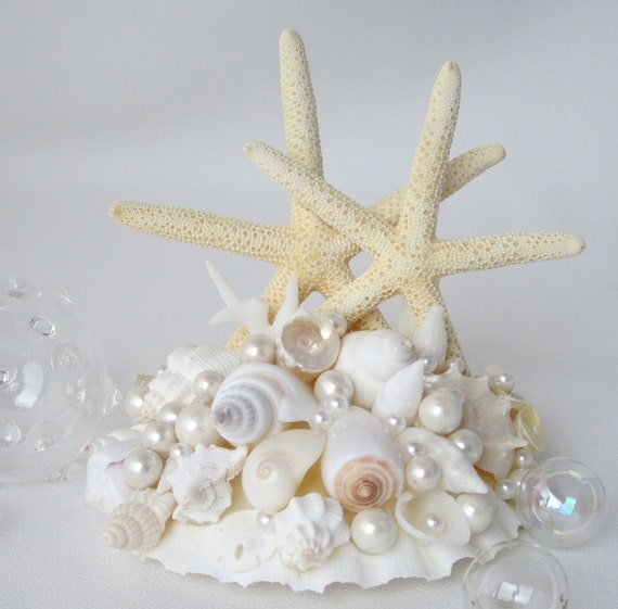Beach Wedding Cake Topper Seashell Cake Topper Starfish Cake