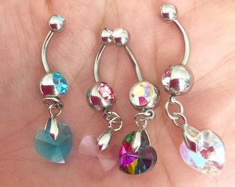 Crystal Ray Prism Heart Navel belly button Ring