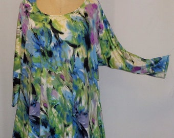 Plus Size Top, Coco and Juan, Lagenlook, Plus Size Tunic, Blue Watercolor Print Knit Drape Side Tunic Top One Size Bust  to 60 inches
