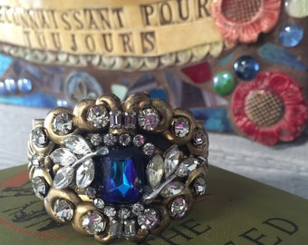 Ultra Fabulous Statement Bracelet Repurposed Rhinestones Fabulous Rhinestones!