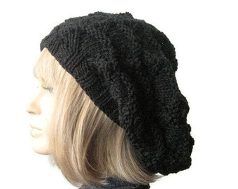 Dark Grey Knit Hat, Grey Lacy Slouchy Hat, Fall Fashion, The Beverly Hat, Knitwear, Womens Accessories, Womens Hat, Knit Slouchy Beanie