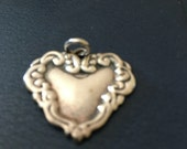 Vintage Sterling Silver Repouse Heart Pendant Charm