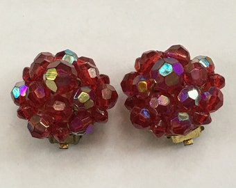 Vintage Germany AB Aurora Borealis Red Crystal Clip Earrings