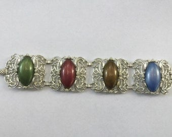 Vintage Wide Chunky Autumn Fall Cabochon Bookchain Link Bracelet