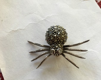 Vintage Sterling Silver Marcasite Spider Pin