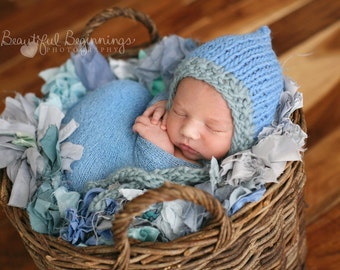 Sky Blue Hat Photo Prop Newborn Knit Baby Cap Going Home Bonnet Organic Valentines Coming Home Outfit Boy Hood Hand Knitted Periwinkle Heart