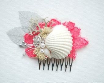 Coral Red White Silver Beach Weddings Bridal Sea Shells Comb, Nautical Hawaiian Weddings Hair Accessories, Bridal Seashells Headpiece