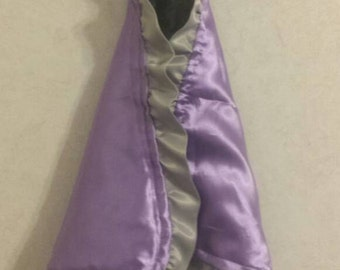 Baby Security Blanket Lovie lovey Purple lavender Satin silver gray Ruffle silver gray Minky 16x16