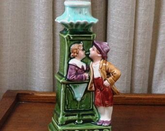 Vintage Majolica Figurine Candle Holder Kissing Couple Green Aqua