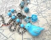bluebird necklace bird assemblage cottage chic blue