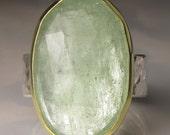 Aquamarine Ring, Rose Cut Aquamarine Ring, 18k Yellow Gold, Sterling Silver, Sea Green Aquamarine Cocktail Ring