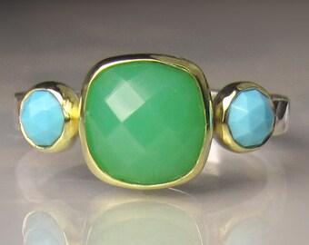 Turquoise Ring, Chrysoprase Ring, Sleeping Beauty Turquoise and Chrysoprase Ring,  18k Gold, Sterling Silver Turquoise and Chrysoprase Ring