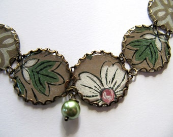 Vintage Wallpaper Charm Bracelet with Flower Design in White, Tan, Green, Recycled Paper Jewelry, Green Glass Pearl Beads, Adjustable Length