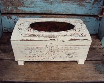 Vintage Shabby Chic Jewelry Box Cedar Chest Trunk Mirror Distressed Chippy Antique White Carved Wood Mid Century Baroque Floral Print