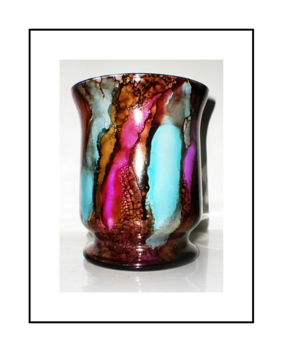 Hand painted glass vase decor alcohol ink