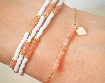 Orange gemstone bar bracelet. Gold. Customize. Gold charm. Rhombus. Diamond. Dainty. Minimalist. Initial. Gift. Bridesmaid. Boho chic