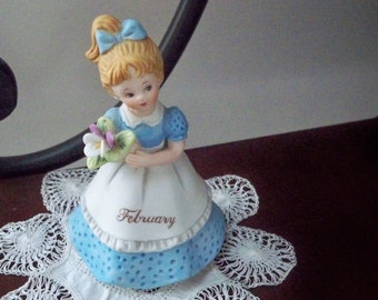 Vintage Collectible Figurine Lefton February Birthday Girl Hand Painted China