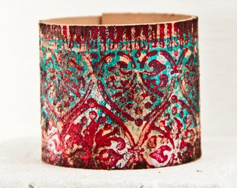 February Leather Jewelry Cuffs Bracelets - Turquoise Hand Painted Wristband Wrist Cuff - Winter Fashion