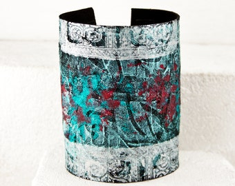 TURQUOISE JEWELRY Wide Bracelet Leather Cuff - Teal, Red, Wide, Silver, Boho, Women's