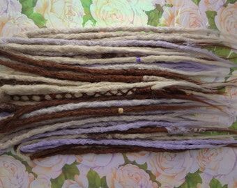 "30 Double Ended Synthetic Dreads. Lavender Blonde knotty dreadlocks. 60 Dreads once installed, full head, 20-23"" long. Ready to Ship"