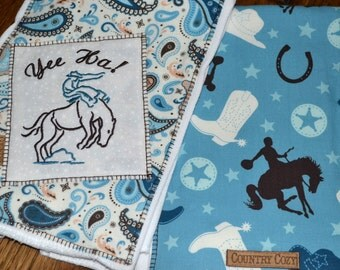 Western Cowboy Baby Burp Cloths Set of 2 Round Up Embroidered
