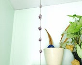 Raw amethyst and antique copper mobile hanging crystal decor
