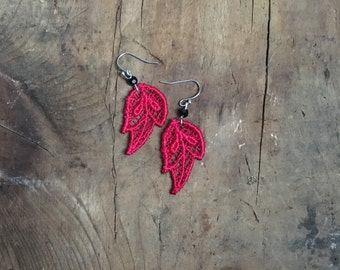 Hot pink lace earrings with black beads and silver hooks