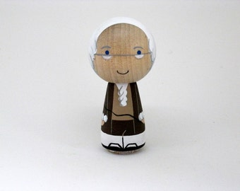 Ben Franklin Kokeshi Peg Art Doll Collectable