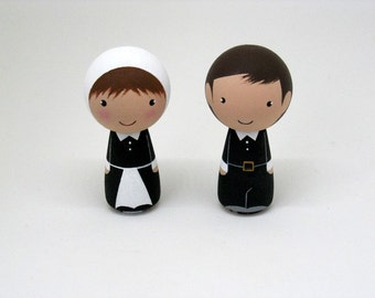 Thankful Kokeshi Peg Doll Pilgrims