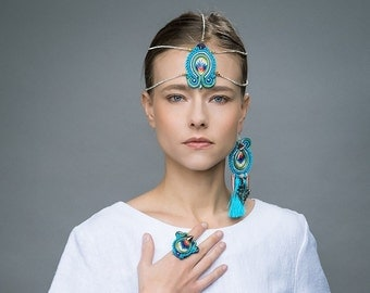 Déclaration turquoise mono boucles d'oreilles, Pocahontas ethnique inspiré, mère de perles et de soie avec péroné argent, cadeau de bijoux Bohème