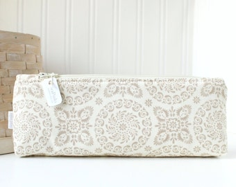 Beige and White Floral Pencil Pouch Floral Pencil Case Neutrals Floral Purse Organizer