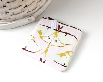 Luna Moth Coin Purse Pink and Brown Change Purse Woodland Gift Card Holder