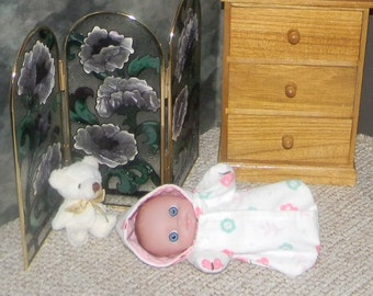 LCBHHS-22) 1 flannel hooded sleeper for 5 inch Lil Cutesies BIG Head baby doll by Berenguer