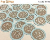 SALE 25 Blue Button Vintage Inspired Kraft Scrapbooking Card Making Embellishments Die Cuts Baby Boy Shower Cute as a Button