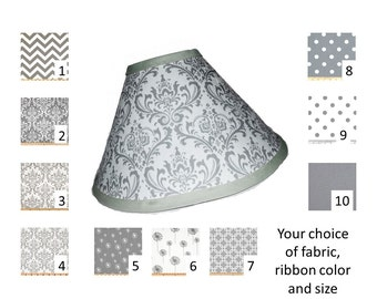 Grey lamp shade - Your choice of size and pattern  - FREE Shipping with the U.S.