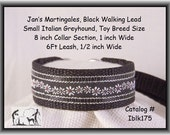 "Jan's Martingales, Black Collar Leash Combination Walking Lead,  Italian Greyhound, Toy Dog Size 8 "" Collar Section Iblk175"