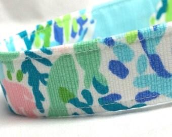 Lilly Pulitzer Fabric Dog Collar Skye Blue Heaven Fabric Boy