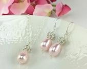Bridesmaid Jewelry Blush Pink Necklace Earring Set Pearl Rhinestone Teardrop Pearl Rosaline Pearl Bridesmaids Gift Maid Of Honor Gift Rachel