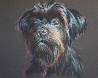 "9x12"" Custom Portrait Dog Pet Pastel Drawing Paintings"