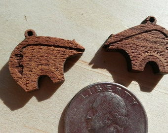 Tribal Bear  Laser Cut Wood Pendant- One Piece- Stock No. DESIGN28