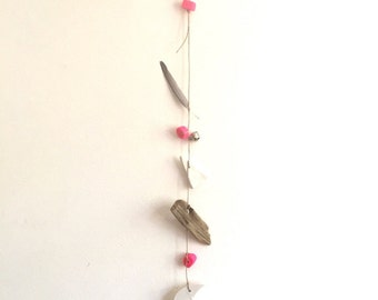 Neon Moon Mobile//Wall Hanging - Found and Made Objects - Handmade
