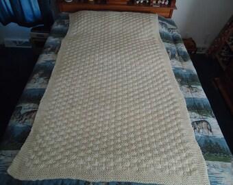 Aran Hand Knitted Basketweave Afghan, Blanket, Throw - Home Decor