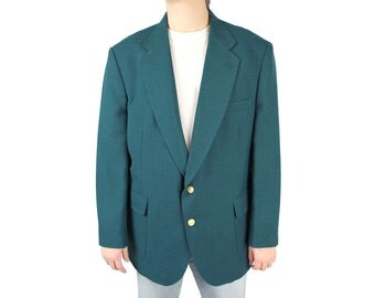 Vintage Blazer 46R 80s Dark Teal Blue Green Mens Sports Coat Jacket Munsingwear Free US Shipping